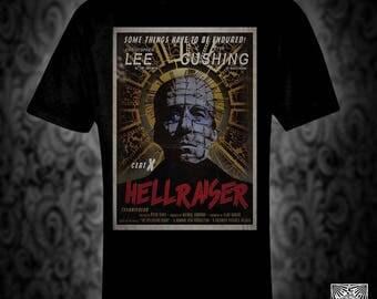 Hammer Hellraiser vintage style T-shirt, retro film poster horror pinhead cenobite christmas birthday valentine