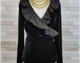 Black velvet formal wrap top with stand up ruffled collar - Small/Medium