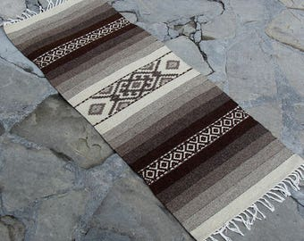 Handwoven striped wool rug runner in natural colors - organic rug handmade of natural pure undyed wool