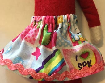 Christmas Shelf Clothes Shopkins Skirt with Pink Trim for 12 inch Girl Elf or Pixie