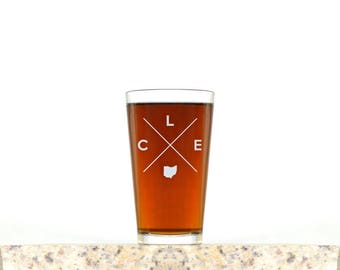 Cleveland Pint Glass | Cleveland Glass - Beer Glass - Pint Glass - Beer Glasses - Pint Glasses - Beer Mug - Cleveland - Gift for Dad