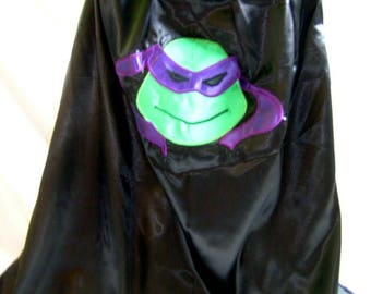Purple turtle supehero cape, masked turtle, turtle costume, Halloween party, birthday party, Christmas ideas, superhero party, Donatello,