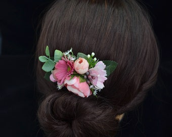 Gift/for/girl Flower comb Pink hair comb Flower girl hair comb Women hair comb Bridal flower comb Bridesmaid flower comb Summer outdoors
