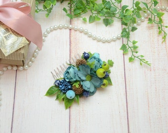 Gift/for/sister Flower comb wedding Hair comb Blue hair comb Wedding headpiece Green flower comb Blue Bridal hair comb Flower girl comb