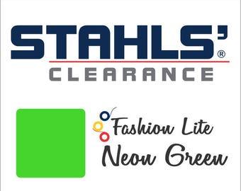 "12"" x 4 Yards - Stahls' Fashion Lite - Smooth - Craft Roll - Iron-on - Heat Transfer Vinyl - HTV - Neon Green"