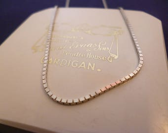 """A superb vintage silver box chain necklace - 925 - sterling silver - 18"""""""