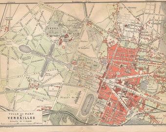 1904 Versailles, Paris France Antique Map