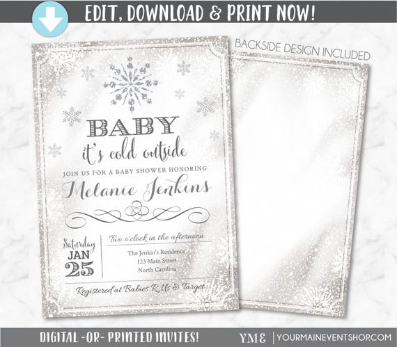 Baby It's Cold Outside Invitation  - Snowflake Baby Shower Invite - Winter Wonderland Baby Shower - Christmas Baby Shower # 033