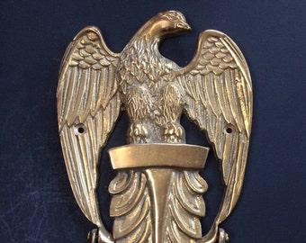 """Large Antique Solid Brass Eagle Door Knocker 10"""""""