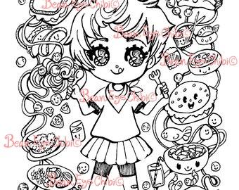 DIY Digital Download LineArt Printable for Coloring Chibi Girl Sadie