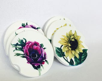 Sunflower sandstone coasters, sandstone drink coaster, car coaster, set of 2 auto drink coaster, poppy car coaster,  poppy sandstone coaster