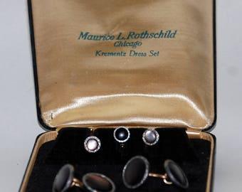 1930s-'40s era Krementz Formal Tuxedo Dress Shirt Studs and Cufflinks Set -- Free Shipping!