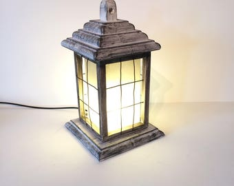 natural light lamp for office. wooden lantern lamp handmade rustic distressed natural light for office l