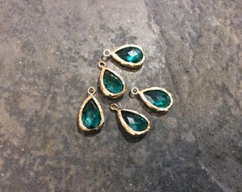 Teal green Bezel Set Faceted Glass Charms Teardrop Shaped Faceted Pendant Charms in Gold finish Birthstone charms