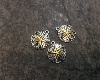 Sand Dollar charms in antique silver finish with gold starfish accents Package of 3 charms Beach theme charms