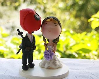 Deadpool Groom and Wonder Woman Bride. Wedding cake topper. Handmade. Fully customizable. Unique keepsake