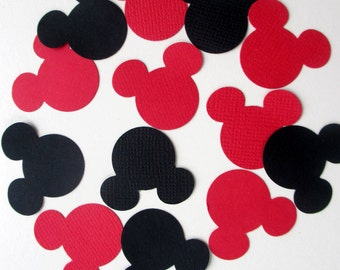 300-Disney inspired-Mickey Mouse confetti-kids Birthday party-decorations-Black and red paper Mickey mouse-baby shower decorations-die cuts