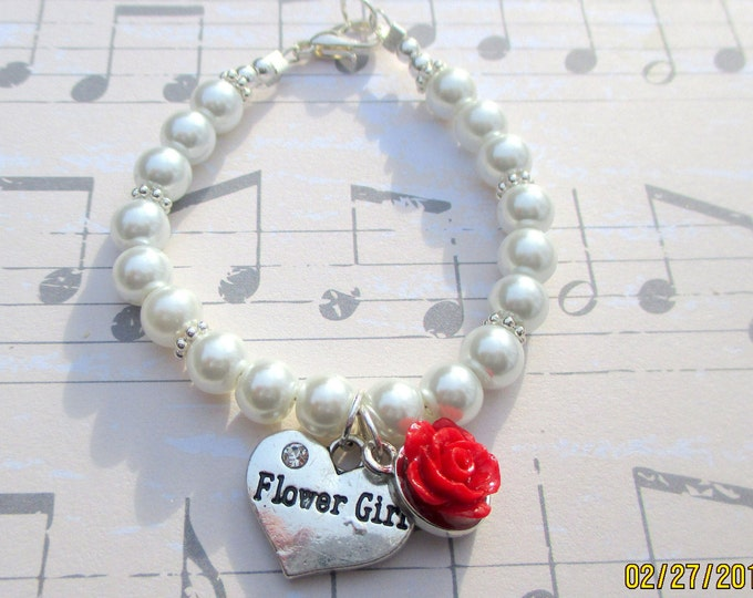 Red rose-Flower girl bracelet-Little girls-pearl jewelry set-sterling silver-toddler wedding gift-children's pearls-flower girl gift-wedding