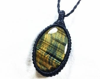 Hawk's Eye Macramé Necklace,Blue Tiger's Eye,Unique Gifts,Men's Necklace,Chakra Jewelry,Tiger Eye Necklace