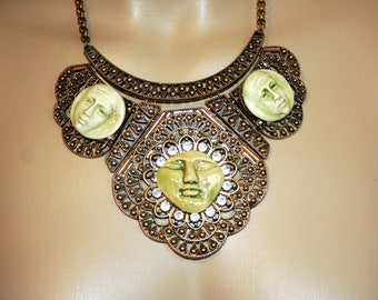 Egyptian revival - ATON Sun bib necklace