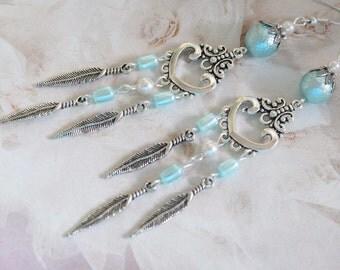 Bohemian Long Earrings Boho Heart Drop Earrings statement earrings old silver dangle earrings Turquoise Blue Earrings jewelry gift for her