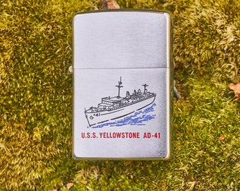 Zippo USS Yellowstone AD-41 unfired with safety sticker