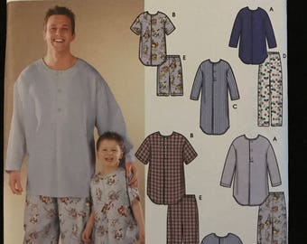 Simplicity 9900 - Easy to Sew Mens and Boys Pajamas - Size Boy S M L - Man S M L XL