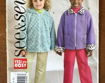 See & Sew B4894 - Easy to Sew Girl's Jacket with Hood or Pointed Collar Option - Size 2 3 4 5