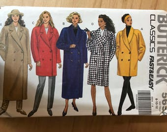 Butterick 5654 - 1980s Double Breasted Coat with Notched or Shawl Collar in Mid Thigh, Knee, or Car Coat Length - Size 8 10 12