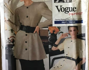 Vogue 2029 - 1980s Executive Dress by Albert Nipon Button Front Dress or Tunic and skirt - Size 18 20 22
