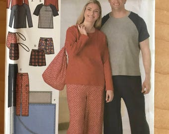 Simplicity 4889 - Easy to Sew Unisex Pullover Top with Contrast Raglan Sleeves, Pants, Shorts, Bag, and Blacket - Size S M L