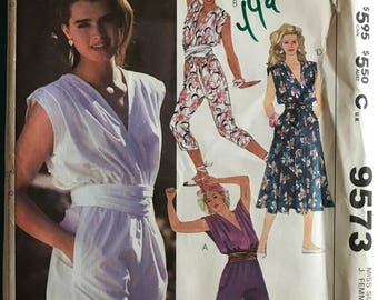 McCalls 9573 - 1980s Brooke Shields V Neck Pantsuit, Romper, and Dress with Blouson Bodice - Size 14 Bust 36