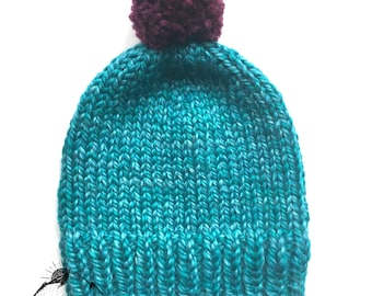 Handknitted classic teal toque, knitted winter hat for children, teenagers and adults, big XL wool yarn knits, knitted pompom hat with wool