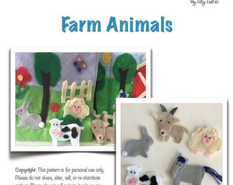 Farm Animals Quiet Book Page PDF Pattern, Felt Animals Sewing Pattern, Felt Animals Tutorial