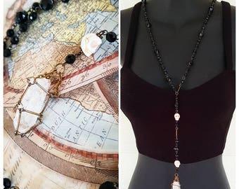 Crystal Necklace, Quartz Crystal, Caged Pendant, Rosarie Necklace, Upcycled Necklace, Boho Necklace, Festival Wear - 00348