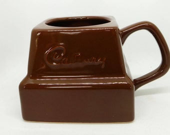 Cadburys chocolate mug , Brown  Vintage  mug in the shape of a chocolate chunk