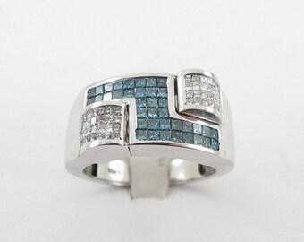 14k White Gold Men's white And Blue Diamond Ring 2.00 carats