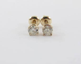 14k Yellow Gold Diamond Stud Earrings Screw Back