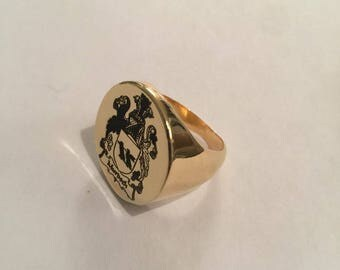 graduation ring, college ring, Family Crest ring, Personalized Ring, Signet Ring, Crest engrave ring, round seal ring, sterling silver  ring