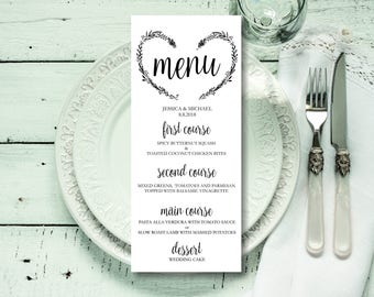 Wedding Menu Printable Template, Rustic Kraft Birdie Wedding Menu, Download Instantly wedding menu template, digital PDF, you print, DIY