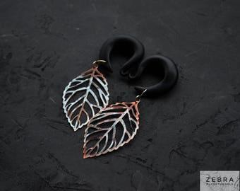 """Silver Leaf dangling ear gauges,hook earring tunnel dangle,size 4,5,6,8,10,12,14,16,18,20 mm,6,4,2,0,00g,3/16,1/4,1/2,5/16,9/16,5/8,3/4,7/8"""""""