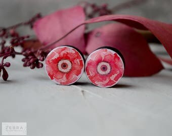 Pair Poppy image ear plugs wooden 4,5,6,8,10,11,12,14,16,18,19,22,24,26,28-60mm;6g,4g,2g,0g,00g;1/4,5/16,3/8,1/2,9/16,5/8,3/4,7/8,1 1/4""