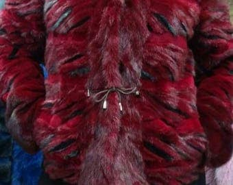 New BORDEAUX RED!Natural Real Amazing color MINK Fur!