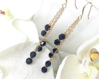 Indigo Swarovski Crystal Gold Chain Earrings