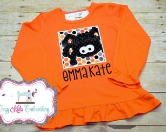 Halloween Shirt, Children's Halloween Shirt, Kids Halloween Shirt, Spider Shirt, Girls Halloween Shirt, Halloween Applique Embroidery