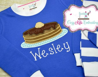 Pancake Pajamas, Birthday Pajamas, Pancake Birthday Pajamas, Girl Pajama, Boy Pajama, Custom pajama, Pancake embroidery, applique