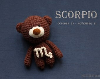 Teddy bear with zodiac Scorpio star sign - horoscope scorpio gift, zodiac teddy bear, miniature crochet bear, crochet scorpio MADE TO ORDER