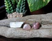 POSITIVE ENERGY // Rose Quartz, Selenite & Rhodonite Healing Stone Set, Wicca Healing Stone Kit, Wiccan Altar Supplies, Smooth Rose Quartz