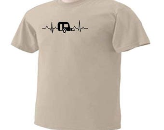 Camping Heartbeat Pulse Outdoor Fun Travel Trailers RV Campers T-Shirt