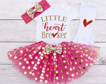 Little Heart Breaker, Valentine's Outfit Baby Girl, Valentine's Day Outfit, Valentine Outfit Girl, Baby Valentine Outfit S63 VDY (HOTP)